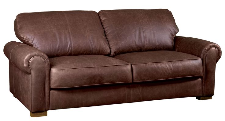 Edward leather sofa in vintage brown