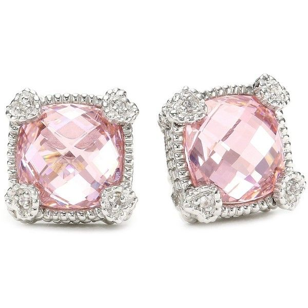 "Judith Ripka ""Linen"" Pink Small Cushion Stone Stud Earrings ($250) ❤ liked on Polyvore"