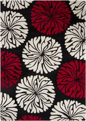 This Thick And Plush Rug Is Hand Tufted In India Using Premium Quality Wool Area Features Fl Design Shades Of Red White Against Black