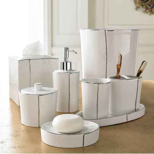Cream Bathroom Accessories Set. NEW Parigi Bathroom Accessories Set has glossy white glazed porcelain with  a platinum trim Sleek clean lines and wrapped look make the pieces perfect 24 best images on Pinterest fixtures Bath