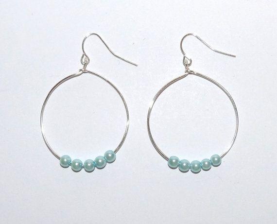 Pearl Silver Hoop Earrings Aquamarine Colour by TilliesTreasure