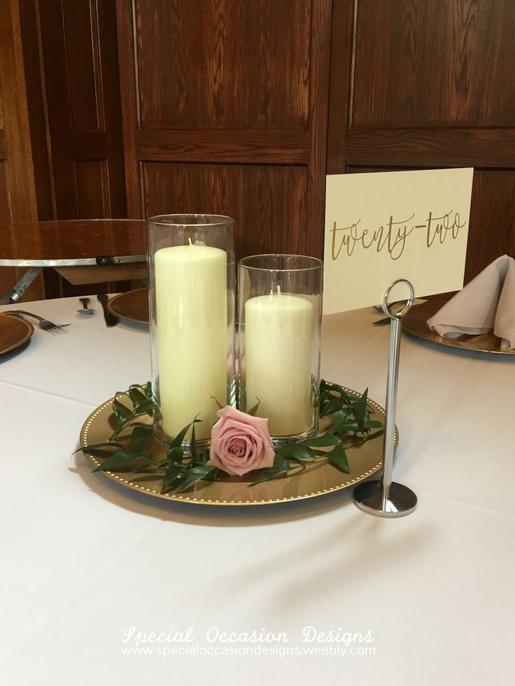 Gold Charger Candles Greenery And Rose Centerpiece