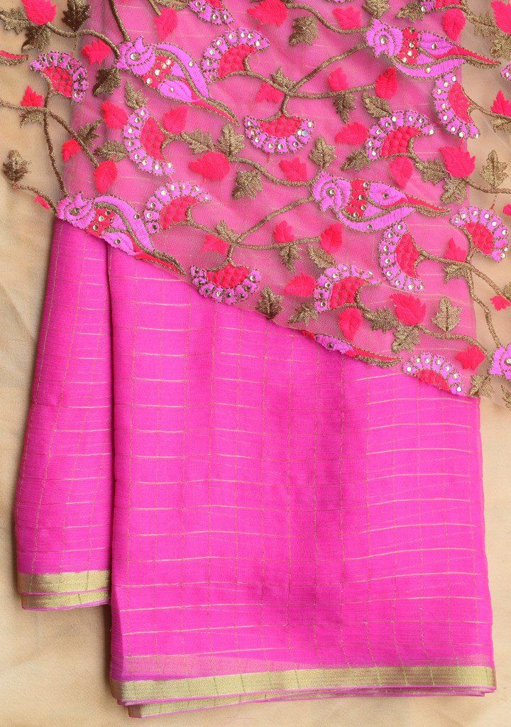 Pink checks saree with embroidered blouse piece – Rang Mohe