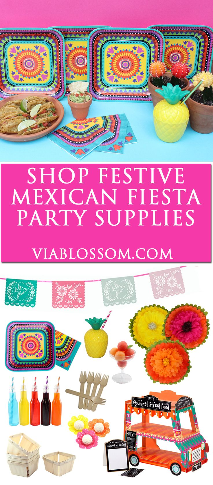 Our top fiesta party supplies for the best cinco de mayo party or a fun fiesta party! Mexican party decorations, fiesta tableware and papel picado decor!