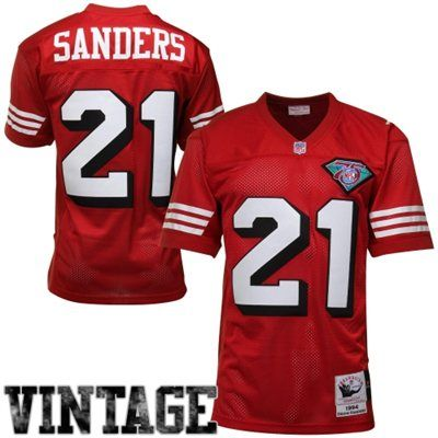 mitchell ness deion sanders san francisco 49ers 1994 authentic throwback jersey scarlet 274