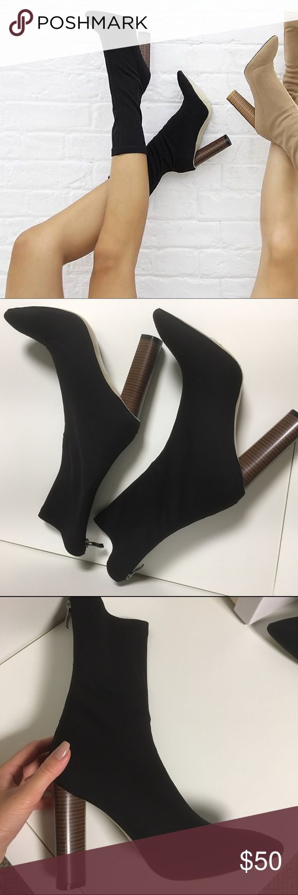Yeezy Sock Ankle Boots 37 6 black Heels shoes kim Yeezy Sock Ankle Boots Shoes Seen on Kim Kardashian / Kylie Jenner / Kendal / Khloe / Kayne West Yeezy Show  Black ❤️ NO UNREASONABLE OFFERS YOU WILL BE BLOCKED THANK YOU ❤️  Size 37 / labeled as a size 6 US on the box.   ( 37 EU is actually a size 6.5 US).   Heel measures approximately 4 inches/ 10.16cm  Never worn before new in box Heel is a little high for me Shoes Ankle Boots & Booties