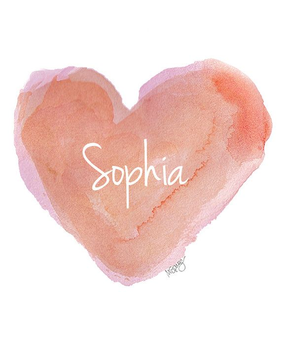 Personalized Name Coral Heart Watercolor Painting 8x10 Art Print Nursery Art  Shower Baby Coral Peach Shabby Chic Style Personalized Name via Etsy