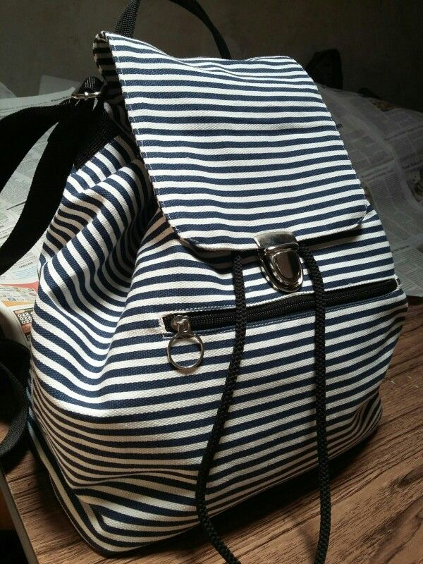 Handmade drawstring backpack. Stripes canvas. #emogirlbag