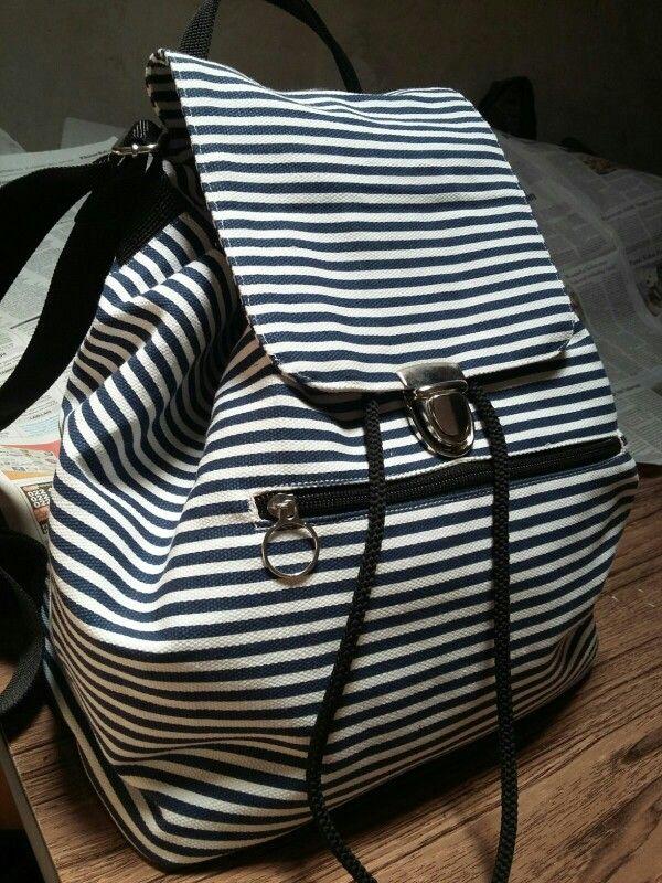 Handmade drawstring backpack. Stripes canvas. #emogirlbag
