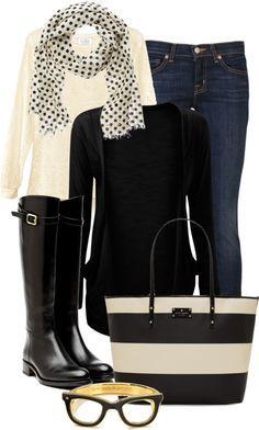 White tee cream black scarf black cardi skinnies handbag fkats