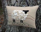 Primitive Ireland Sheep Embroidery Door Hanger Pillow – Original Design – Farts and Craps