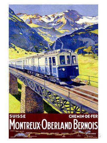 Montreux-Oberland Giclée-Druck von Elzingre - bei AllPosters.ch