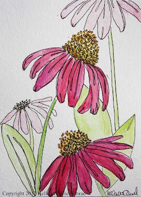 Watercolor Flowers, Kellee Wynne Conrad www.artistwriterdreamer.com                                                                                                                                                     More