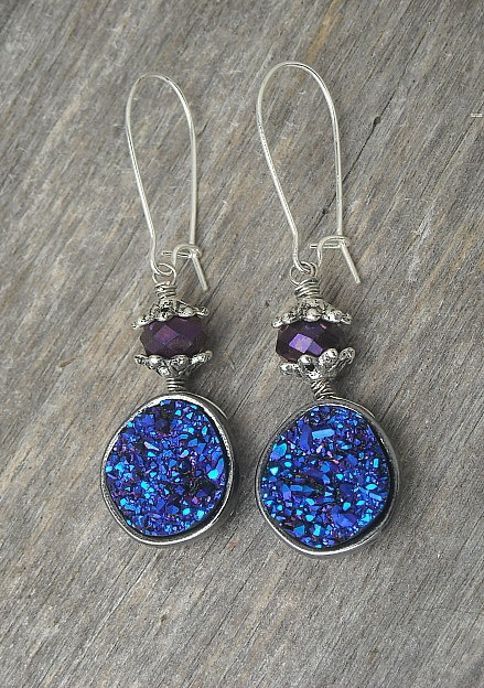 Electric Blue and Violet Purple Druzy Earrings Titanium Quartz Crystals by InkandRoses13