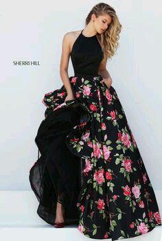 Vestido longo preto estampado