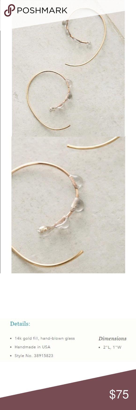 "Anthropologie Maelstrom Hoop Earrings NWT. Anthropologie Maelstrom Hoop earrings by Jess Panza.   Details:  💗14 karat gold fill, hand blown glass  💗handmade in USA  💗Style No. 38915823 💗2""L, 1""W Anthropologie Jewelry Earrings"