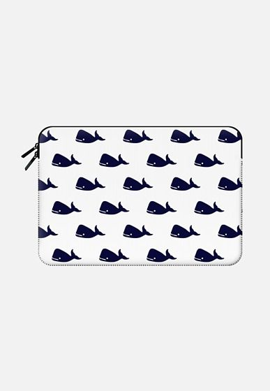 Cute Little Navy Blue Nautical Whales Animals Pattern on White Background Macbook Air 13 sleeve by BlackStrawberry | Casetify