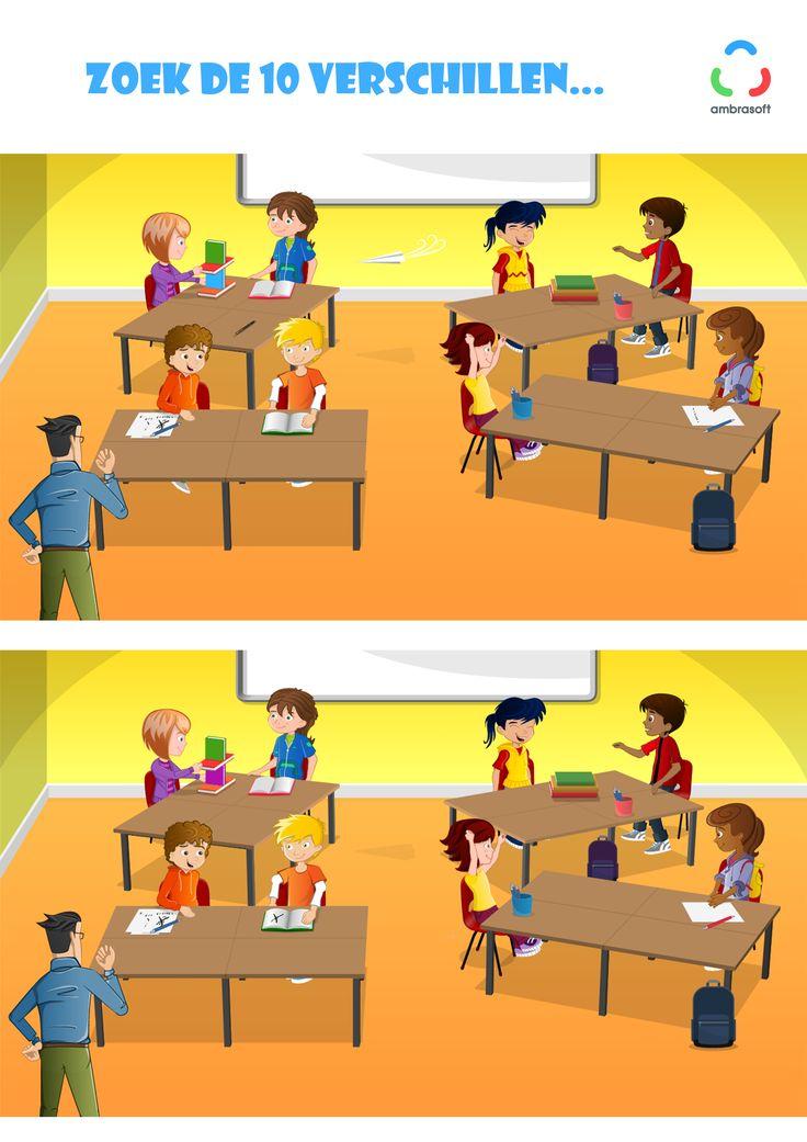 Ambrasoft - Knutselplaat voor kinderen van Tom en Tamira - zoek de 10 verschillen - klaslokaal