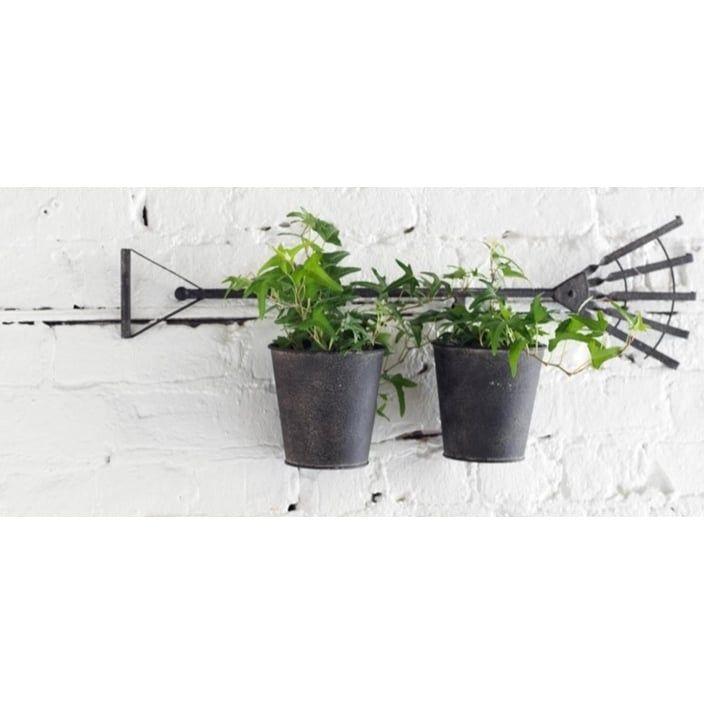 27 French Countryside Garden Rake Two-Pot Planters, Gray #31520655, Outdoor Décor