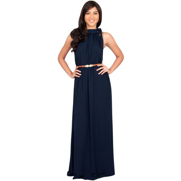 Koh Koh Navy Blue Featuring Tie Around Neck Sleeveless Maxi Dress ($48) ❤ liked on Polyvore featuring dresses, navy blue, blue neck tie, special occasion dresses, navy blue maxi dress, blue cocktail dresses and tie-dye maxi dresses