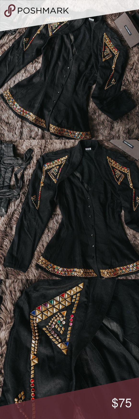 Vintage 90s Studded and Jeweled Peplum Top WHAT?! This top is so sick. I'm pretty sure that Janet Jackson wore this on her rhythm nation tour 😂. This top is in perfect condition and is such amazing quality! Use this as part of a costume for a 90s night or for Halloween. Go as Janet Jackson or Paula Abdul, or any other iconic 90s female. Or just rock this top out if you are a super fashionista! It would look so hot with a pair of skinny jeans and killer heels. Such an amazing top and I…