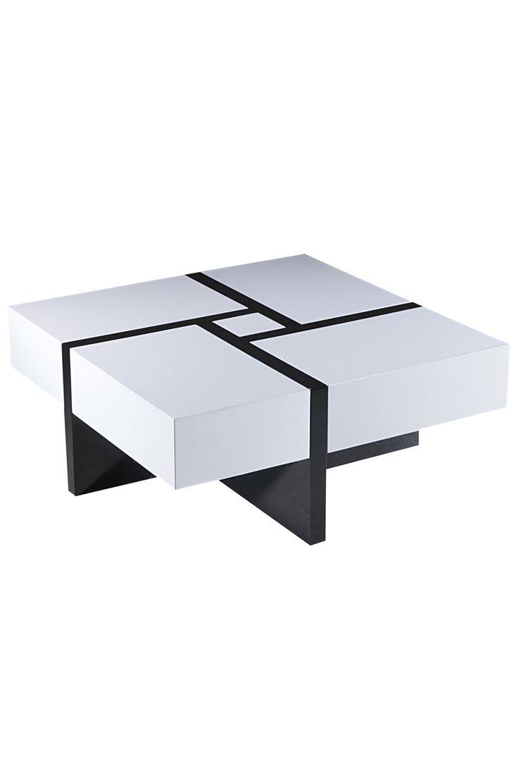 Venta Muebles Design / 9211 / Mesas Bajas & Poufs / Mesas Bajas / Mesa Baja Corrrediza Puzzle Negro y Blanco