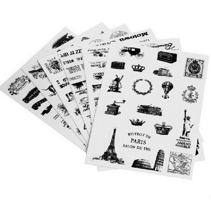 6sheets/set Retro seal pattern transparent diary scrapbooking decorative stickers Tower Hot Air Balloon cool laptop stickers