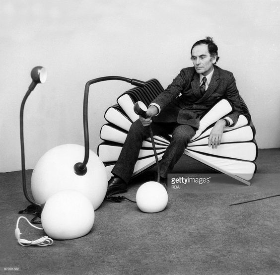 French couturier Pierre Cardin in a seat he created, at the Espace Pierre Cardin, Paris, on November 16, 1970: