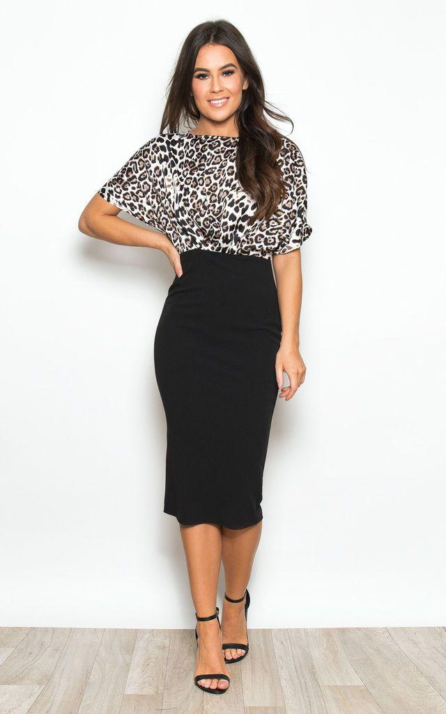 43e4c97e1478 Fleur Batwing Top Bodycon Midi Dress Black / Leopard Print by Girl In Mind