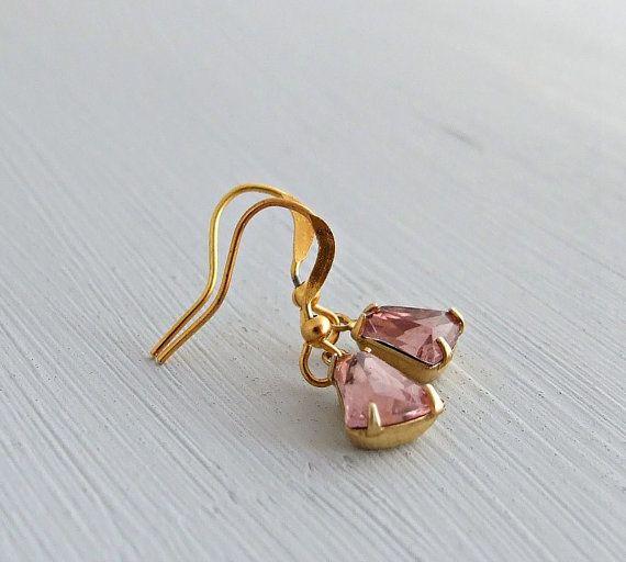 Rose Pink Bell Earrings .. vintage glass bell by beadishdelight