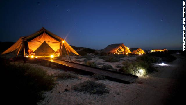 At Sal Salis Ningaloo Reef safari camp in Western Australia, tents are tucked among the dunes in Cape Range National Park.