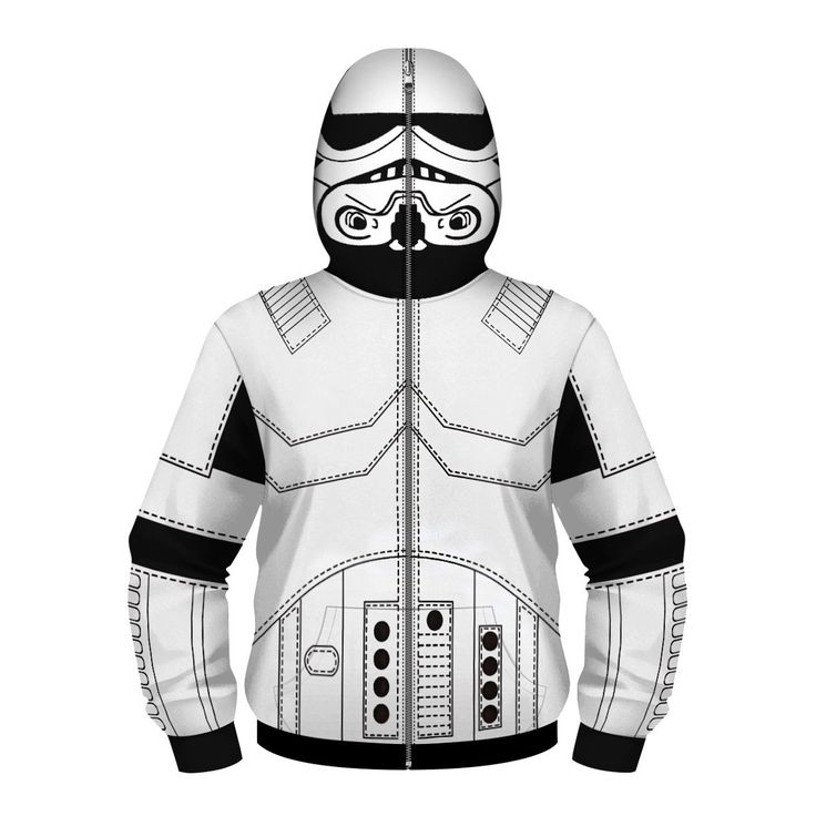 Imperial Stormtrooper Autumn Hoodie White Zipper Masked