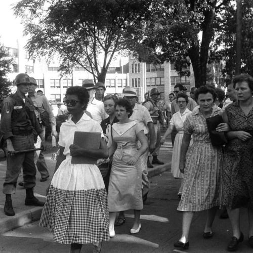 60 years ago today on Sept. 4, 1957 the Little Rock Nine students were barred from attending school when governor Orval Faubus ordered the National Guard to prevent them from entering the high school. Pictured here is student Elizabeth Eckford...