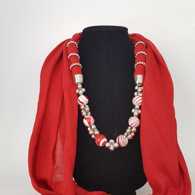 Red Scarf with red and white beads - Three C Jewelry