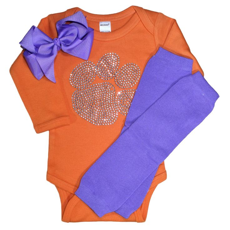 Infant / Toddler / Baby Long or short sleeve, Clemson Tigers Paw Print Clear Crystal Rhinestone Orange or Purple Bodysuit, Bow & Leg…