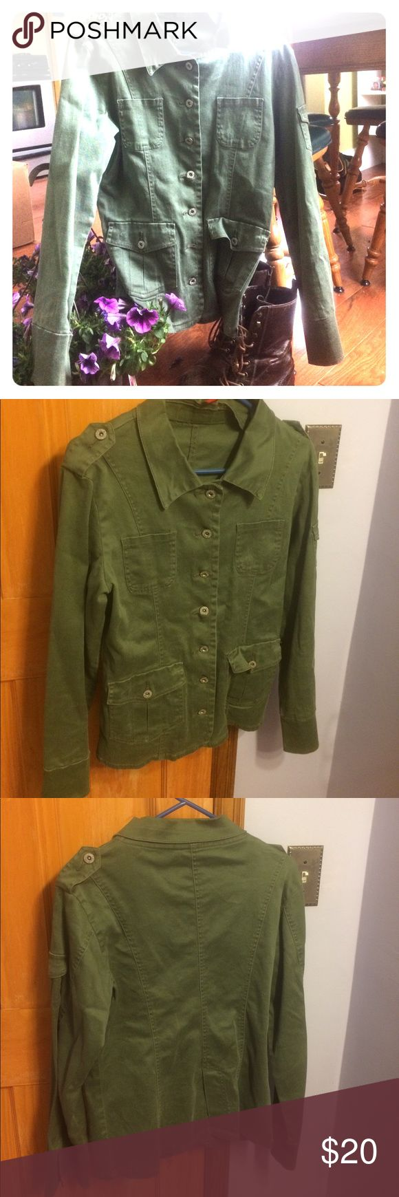 Green Military Jacket Back to basics with this classic military cut. Very cute, little wear shown aside from manufactured wear look. Mark where a pin used to be on sleeve pocket. Says a size large but definitely fits a medium more than a large Vanilla Star Jackets & Coats Trench Coats