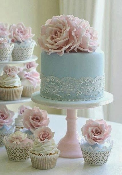 shabby chic cake & cupcakes in pale blue and with pink roses