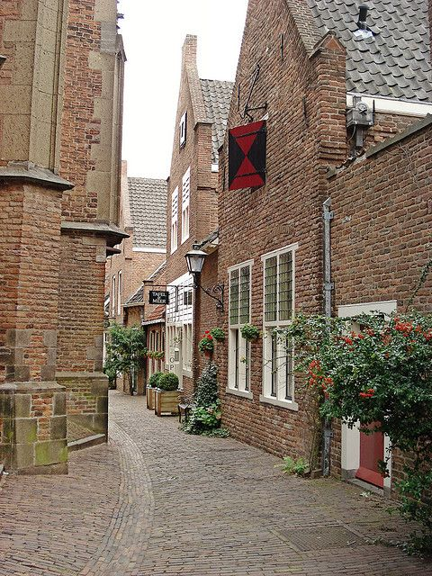 Medieval streets of Nijmegen in Netherlands