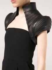 Construction and structure... The past future! MAJESTY BLACK - Structured Leather Belero Vest - BALERO VEST BLACK