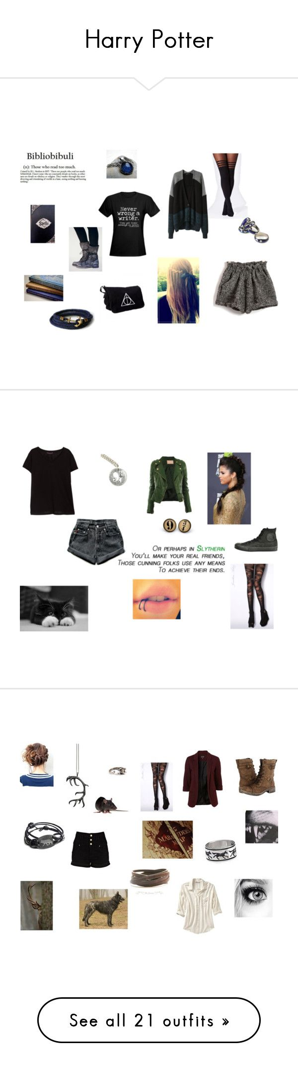 """Harry Potter"" by ronjalykke ❤ liked on Polyvore featuring Free People, Anello, Rare London, Alexander Wang, Jonathan Aston, Levi's, Violeta by Mango, Converse, harrypotter and slytherin"