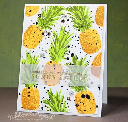 Layered pineapple background showcasing the Hero Arts Color Layering Pineapple Stamp Set and inks. #heroarts #colorlayeringpineapple