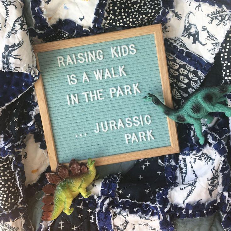 Felt letter board quotes. Baby rag quilt. Dinosaur quilt. Boy quilt. Jurassic Park. Boy nu… – Cass W