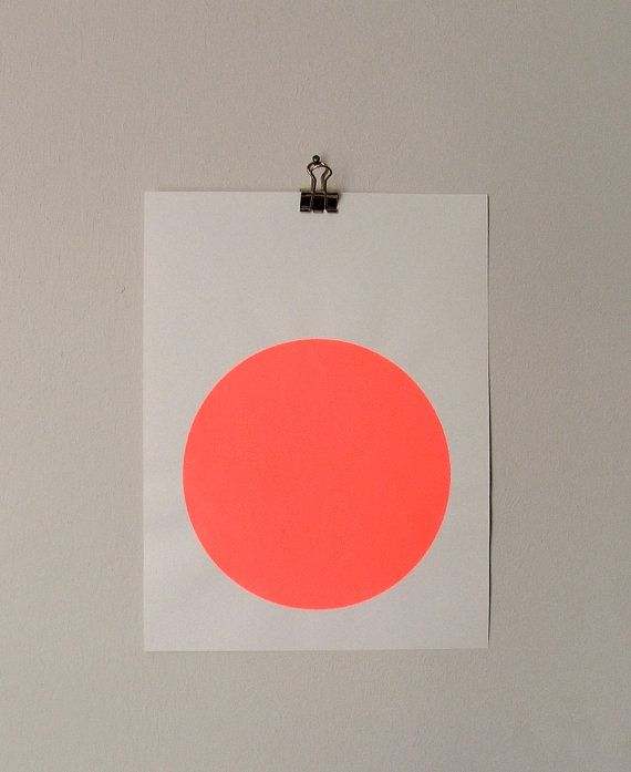 circle screenprint on paper neon red by sandrathomsen on Etsy