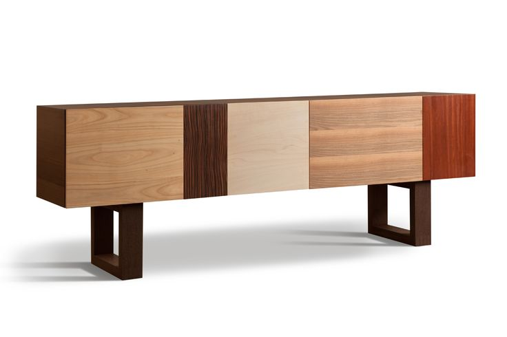 BIG JOHN, sideboard made of wengè with patchwork doors and drawers, by Maurizio Duranti 200L 42P 77H