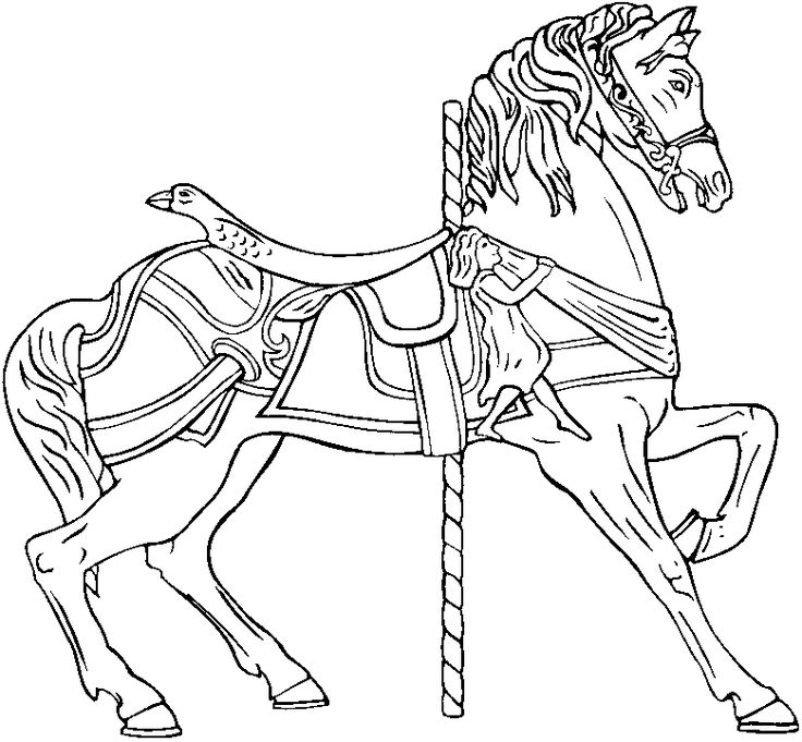 Free Carousel Horse Coloring Pages 3