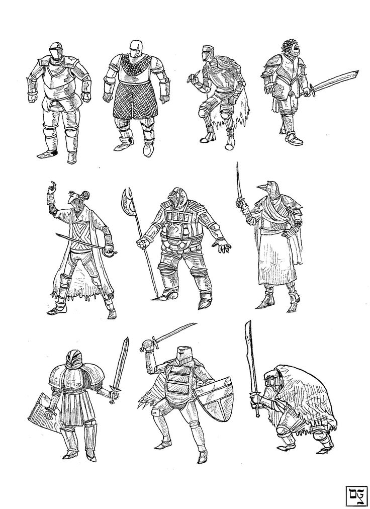Dylan Rohn draws things. Like knights with varying degrees of good posture. #inktober #knights #medieval