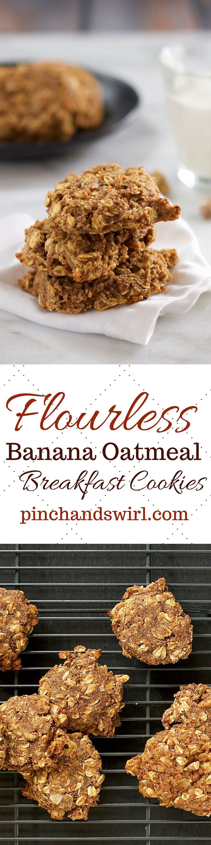 These Flourless Oatmeal Banana Breakfast Cookies breakfast cookies are the perfect, healthy, portable breakfast for busy mornings. No refined sugar! They're gluten free and Paleo friendly.