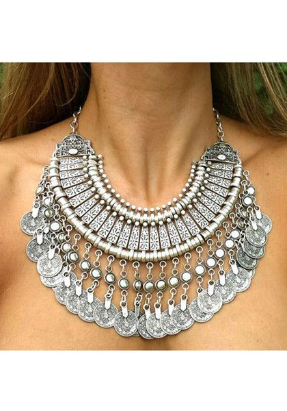 Statement-making silver coin bib necklace | Lookbook Store