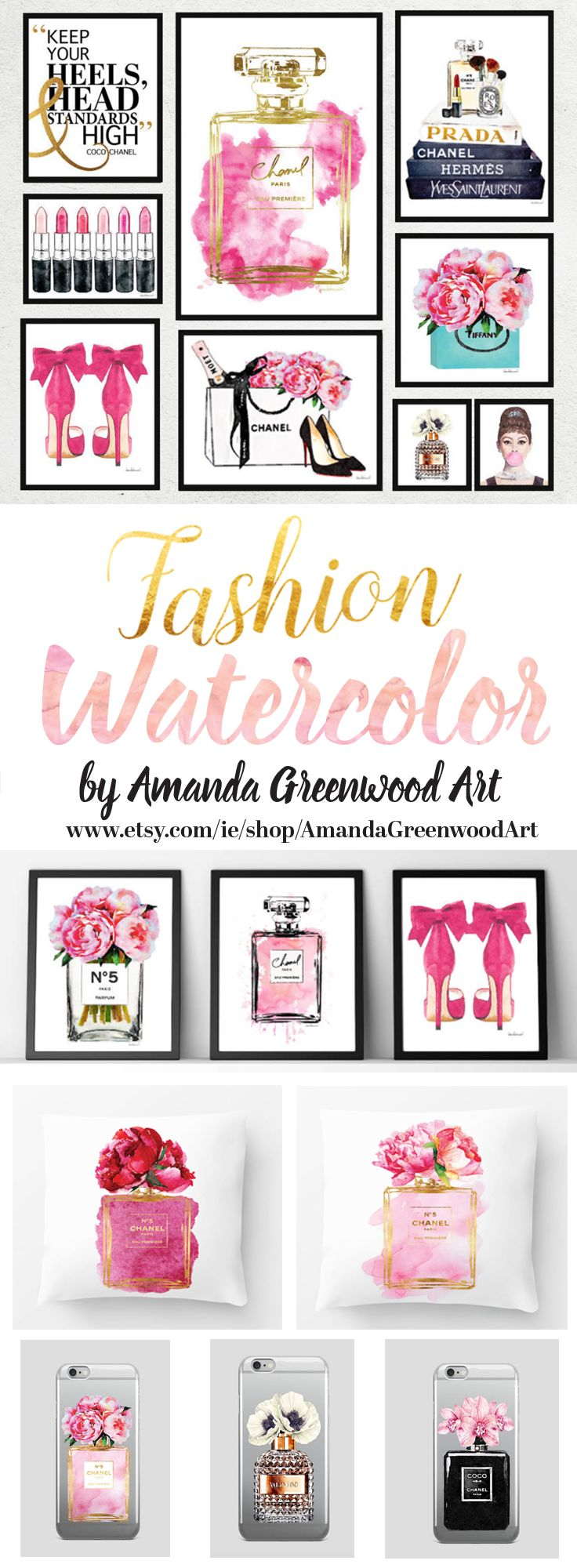Love these collections of Chanel inspired art! Watercolor fashion illustration by amanda Greenwood art on Etsy. With a love of flowers, Chanel, Perfumes and make up. Perfect wall art for the bedroom, bathroom & guest room. www.etsy.com/ie/shop/AmandaGreenwoodArt