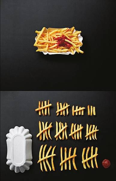 French Fries - before and after.